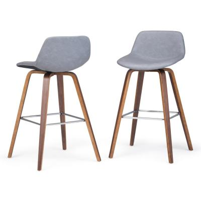 Randolph 36.6 in. Stone Grey Faux Leather Mid Century Modern Bentwood Counter Height Stool (Set of 2)