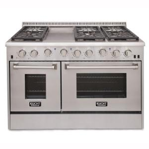 Kucht Pro-Style 48 inch 6.7 cu. ft. Natural Gas Range with Sealed Burners, Griddle and Convection Oven in Stainless Steel by Kucht