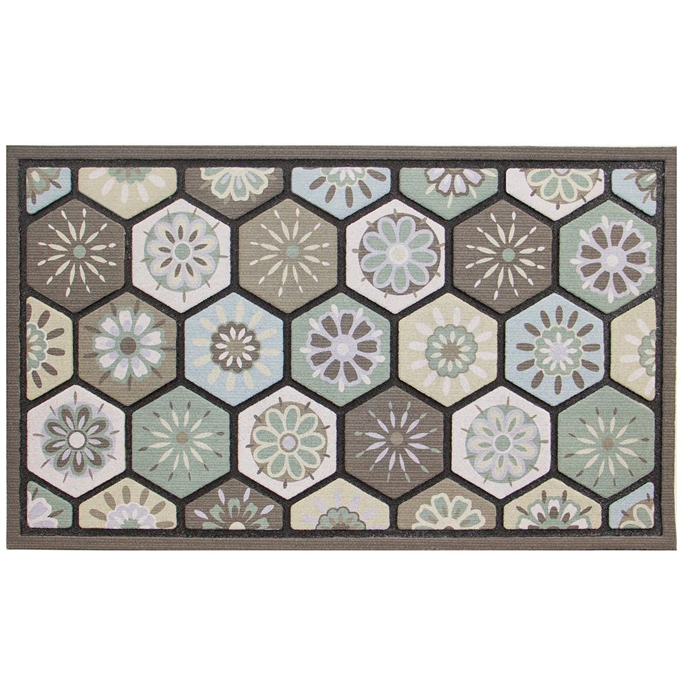 Hexagon Multi 18 in. x 30 in. Door Mat