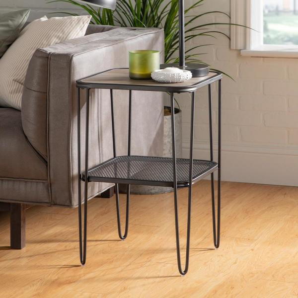 16 in. Grey Wash Mid Century Modern Side Table