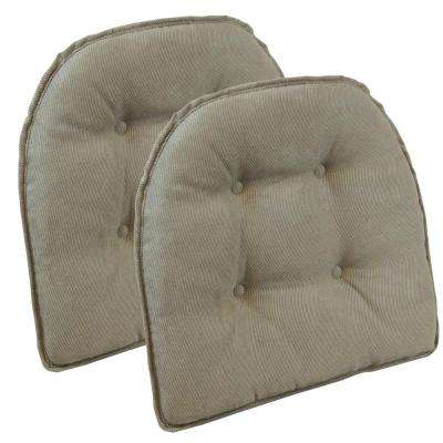 Gripper Non-Slip 15 in. x 16 in. Twillo Bronze Tufted Chair Cushions (Set of 2 )