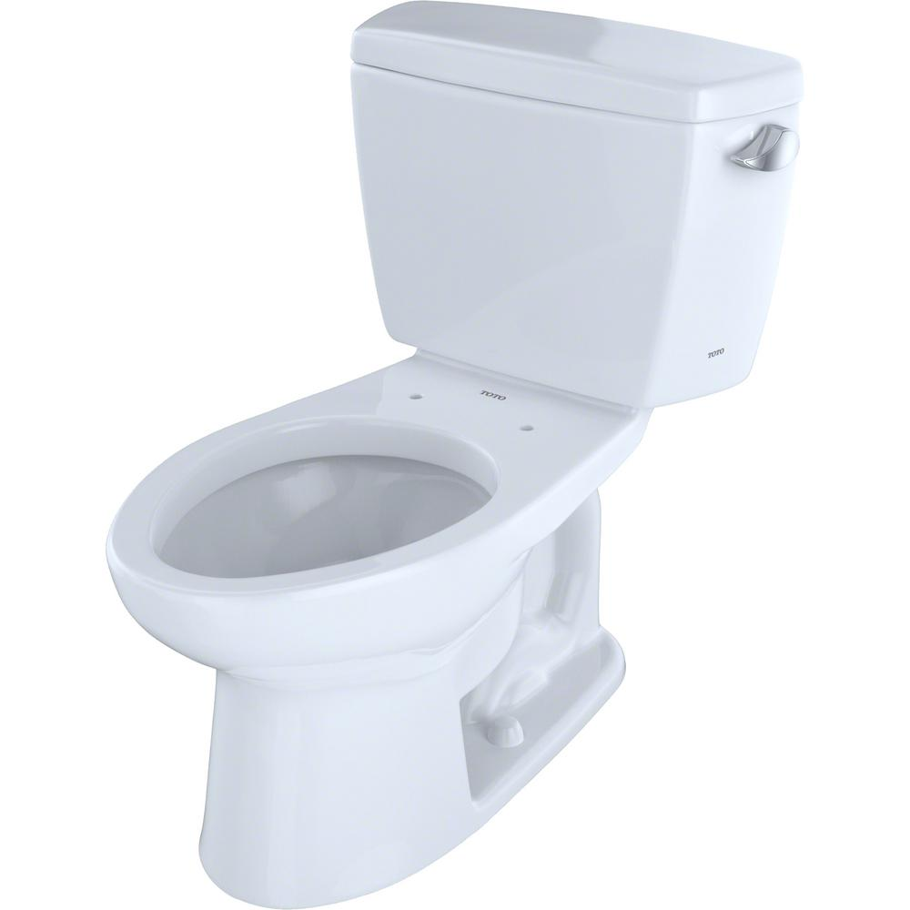 TOTO Eco Drake Transitional 2-Piece 1.28GPF Single Flush Elongated Toilet with 10in. Rough-In and Right Lever in Cotton White