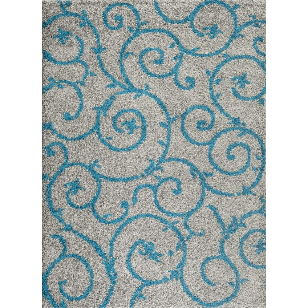 Soft Cozy Contemporary Scroll Turquoise Gray 5 Ft X 7 Indoor