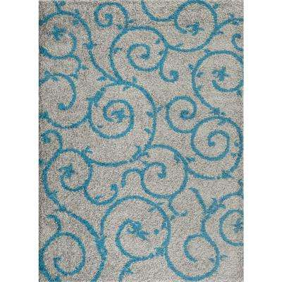 Soft Cozy Contemporary Scroll Turquoise/Gray 7 ft. 10 in. x 10 ft. Indoor Shag Area Rug