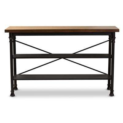 Velera Dark Oak Brown and Dark Bronze Kitchen Island Table