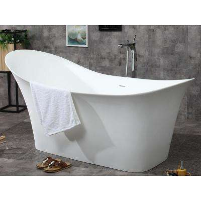 74 in. Resin Flatbottom Bathtub in Matte White