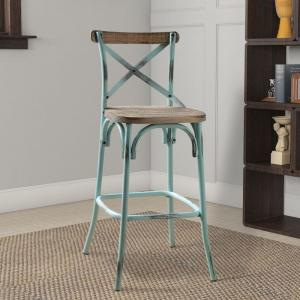 Cool 14 In Antique Turquoise Wood And Metal Bar Height Chair With X Style Panel Back Cjindustries Chair Design For Home Cjindustriesco