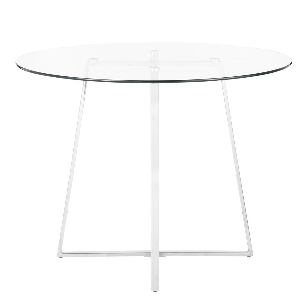Lumisource Cosmo Round Dining Table In Chrome With Clear Gl Top Dt Cosmo2 The Home Depot