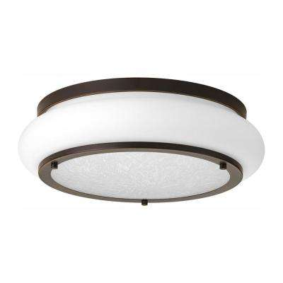 Opal-Linen LED Collection 25-Watt Antique Bronze Integrated LED Flush Mount
