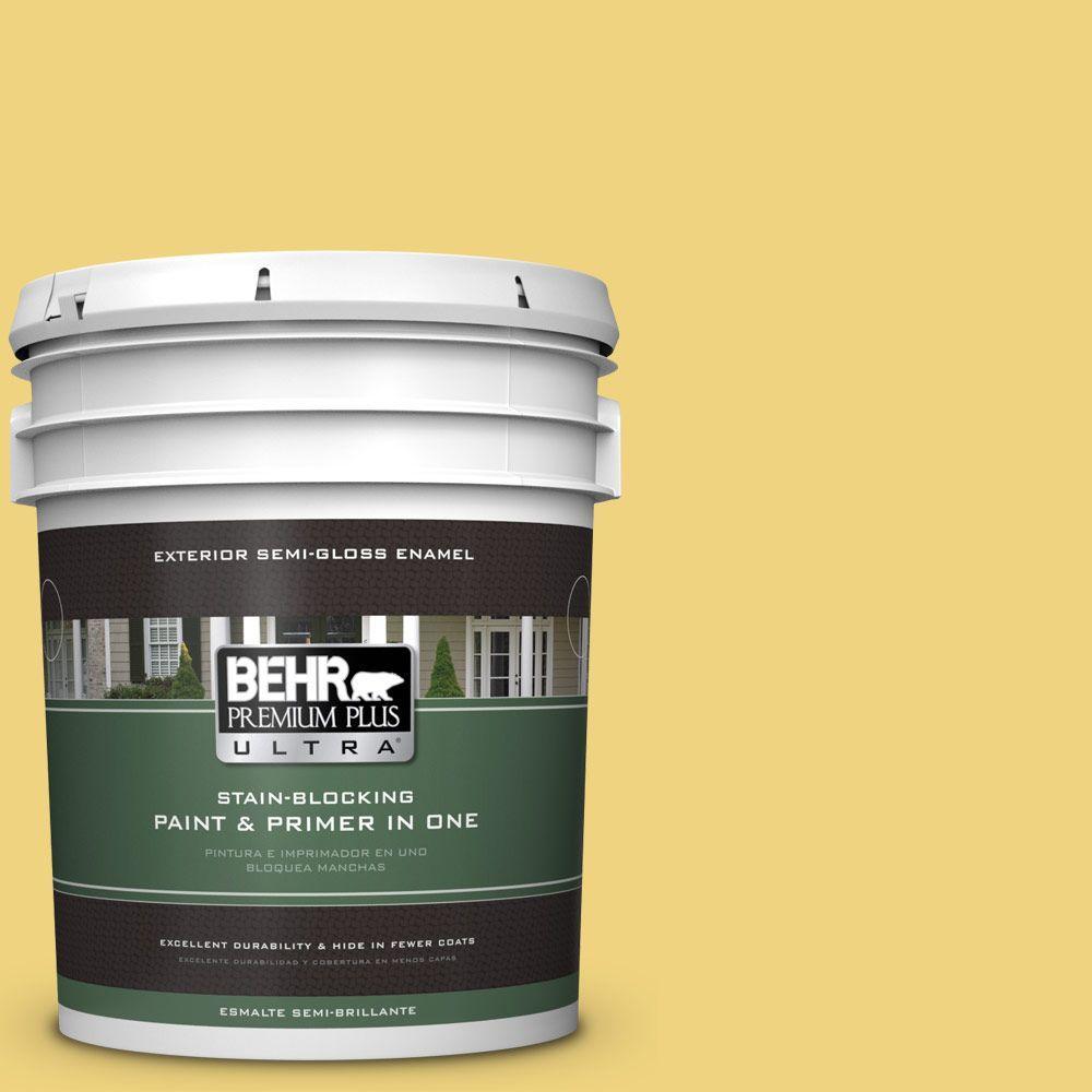 BEHR Premium Plus Ultra 5-gal. #380D-4 Feather Gold Semi-Gloss Enamel Exterior Paint