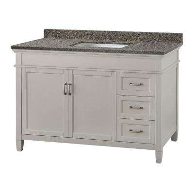 Ashburn 49 in. W x 22 in. D Vanity in Grey with Granite Vanity Top in Sircolo with White Basin