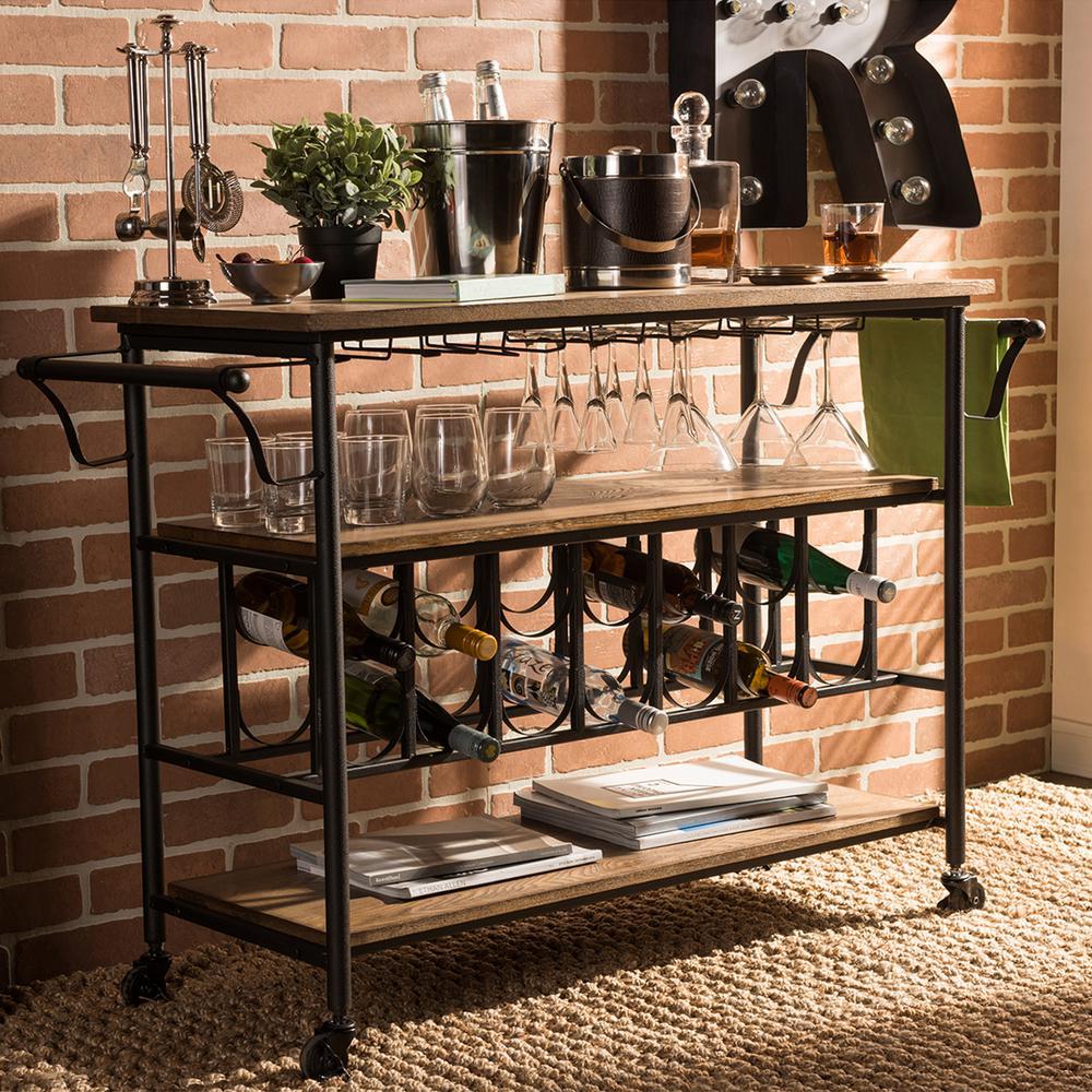 Baxton Studio Bradford Black And Medium Brown Wine Cart With Wine