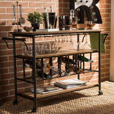 Bradford Black and Medium Brown Wine Cart with Wine Glass Storage