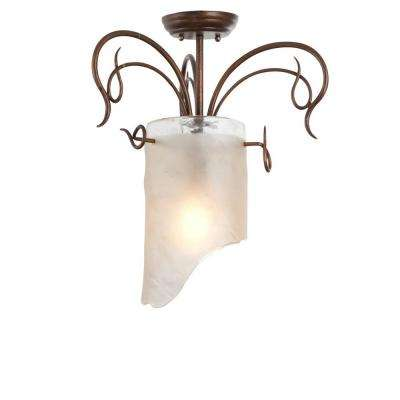 Soho 1-Light Hammered Ore Semi-Flush Mount Light with Brown Tint Ice Glass