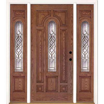 63.5 in.x81.625in.Lakewood Brass Center Arch Lt Stained Medium Oak Left-Hand Fiberglass Prehung Front Door w/ Sidelites