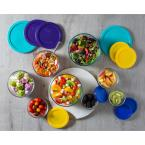 Pyrex Simply Store Love 18-Piece Round Glass Storage Set with Assorted Colored Lids