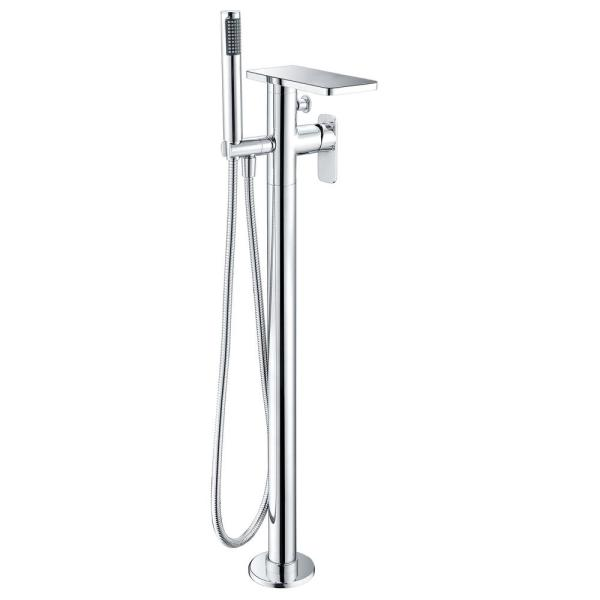 Double-Handle Freestanding Tub Faucet with Handheld in Polished Chrome