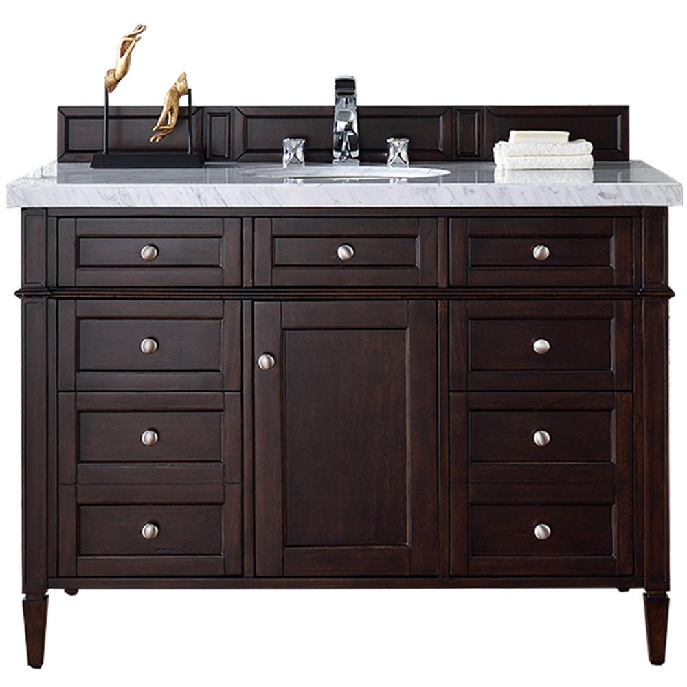 james martin signature vanities brittany 48 in w single vanity in burnished mahogany with marble