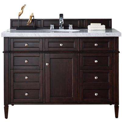 Brittany 48 in. W Single Vanity in Burnished Mahogany with Marble Vanity Top in Carrara White with White Basin