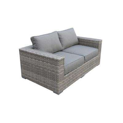 Bali Patio Wicker Outdoor Loveseat with Olefin Charcoal Grey Cushions