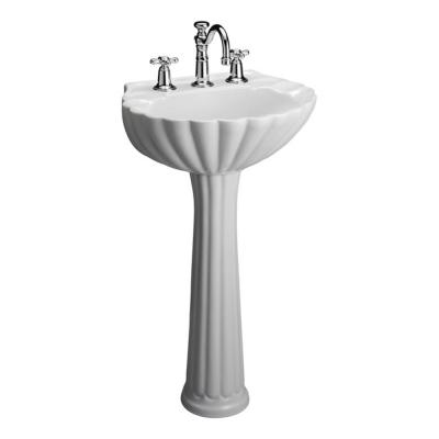 Bali 19 in. Pedestal Combo Bathroom Sink for 8 in. Widespread in White