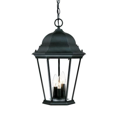 Richmond Collection 3-Light Matte Black Outdoor Hanging Lantern