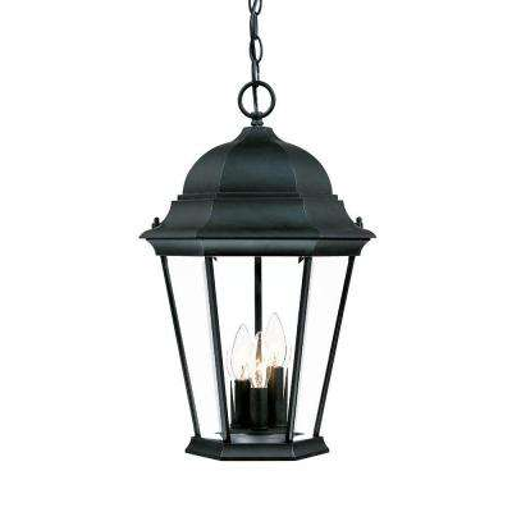 Richmond Collection 3-Light Matte Black Outdoor Hanging Lantern