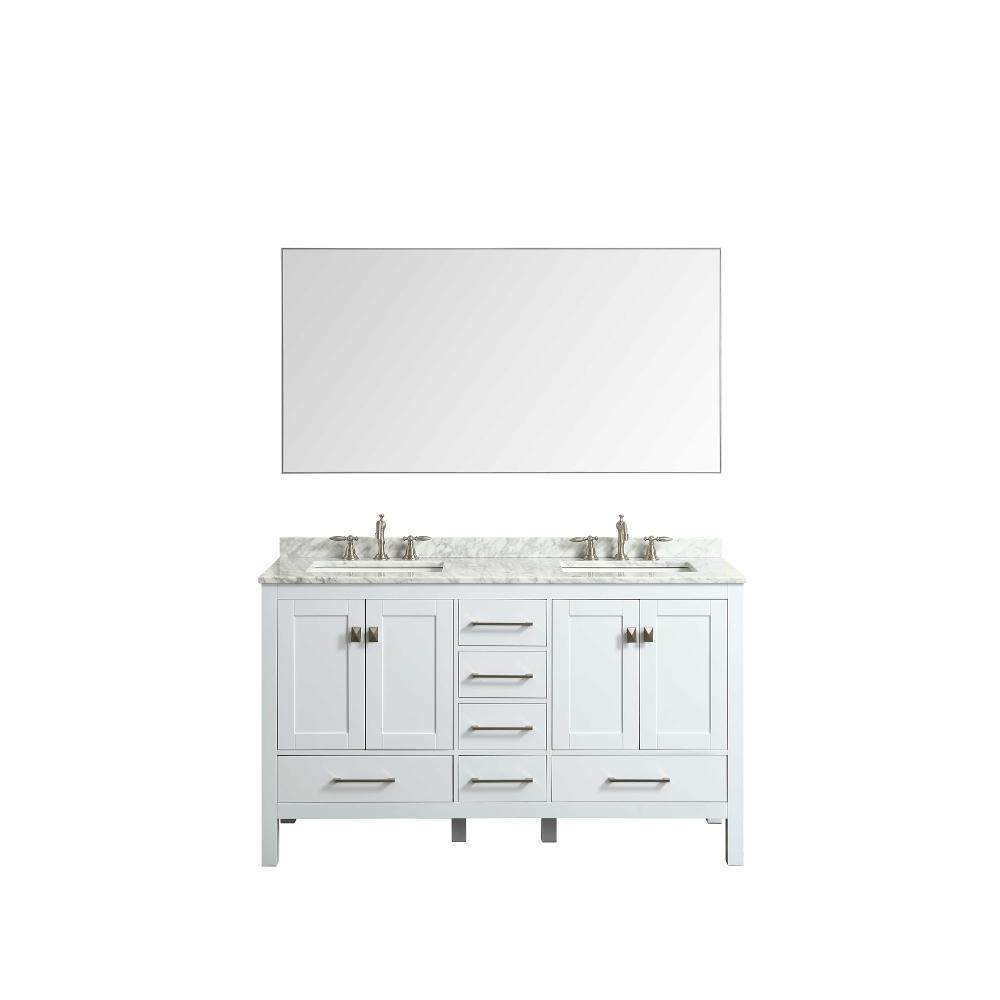Eviva Sax 60 in. W x 30 in. H Metal Frame Wall Mounted Vanity Bathroom Mirror in Chrome