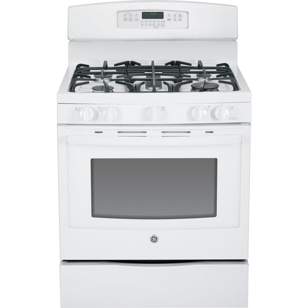 GE 5.6 cu. ft. Gas Range with Self-Cleaning Convection Oven in White