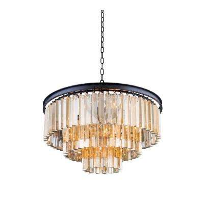 Sydney 9-Light Mocha Brown Chandelier with Golden Teak Smoky Crystal