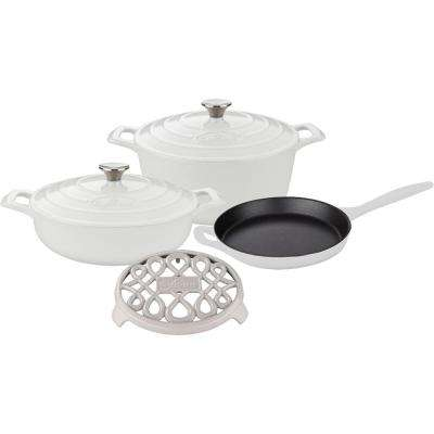 PRO 6-Piece Enameled Cast Iron Cookware Set with Saute, Skillet and Round Casserole with Trivet in White