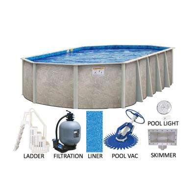 Sahara 18 ft. x 34 ft. Oval 54 in. Deep Hard Side Metal Wall Resin Frame Above Ground Pool Package w/Entry Step System