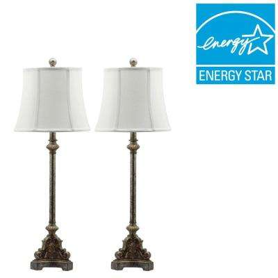 Rimini Console 33.5 in. Antique Silver Table Lamp with Off-White Shade (Set of 2)