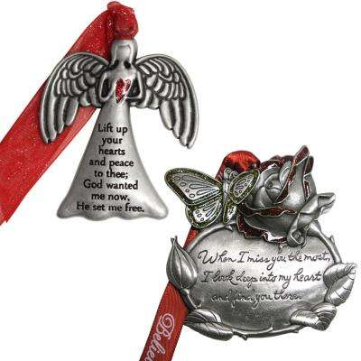 Angel and Rose Memorial Ornament Set