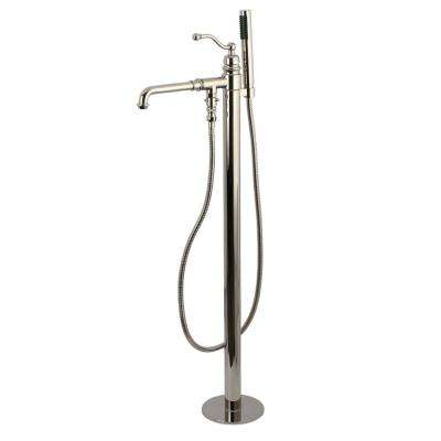 Country Single-Handle Wall-Mount Freestanding Roman Tub Faucets with Hand Shower in Polished Nickel