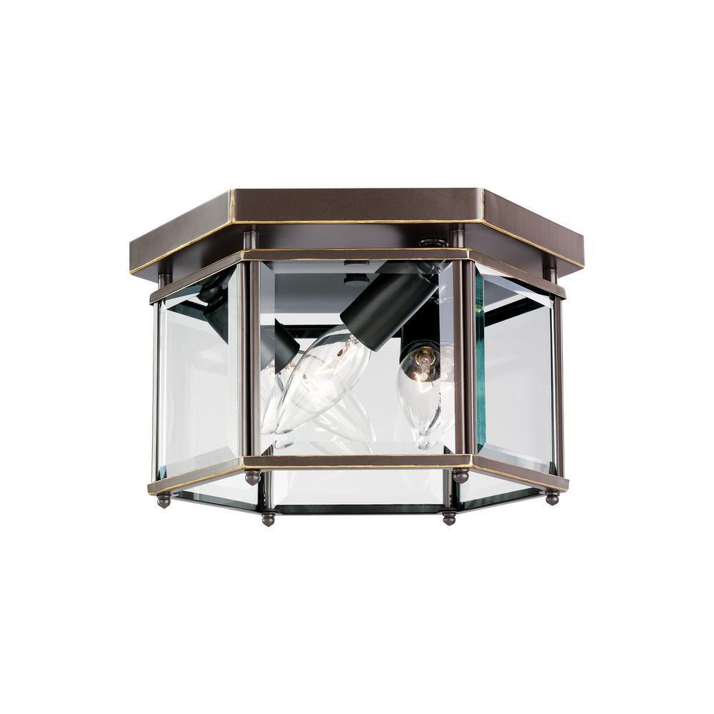 Bretton 3-Light Heirloom Bronze Flush Mount with Dimmable Candelabra LED Bulb