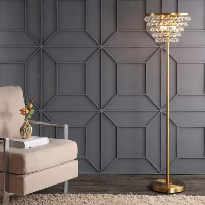 Jemma 60 in. Brass Gold/Clear Crystal/Metal LED Floor Lamp