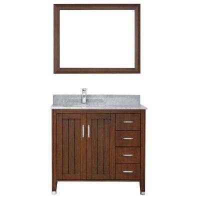 Jackie 36 in. Vanity in Classic Cherry with Marble Vanity Top in Carrara White and Mirror