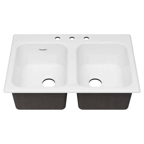 Quince Drop-in Cast Iron 33 in. 3-Hole Double Bowl Kitchen Sink in Brilliant White