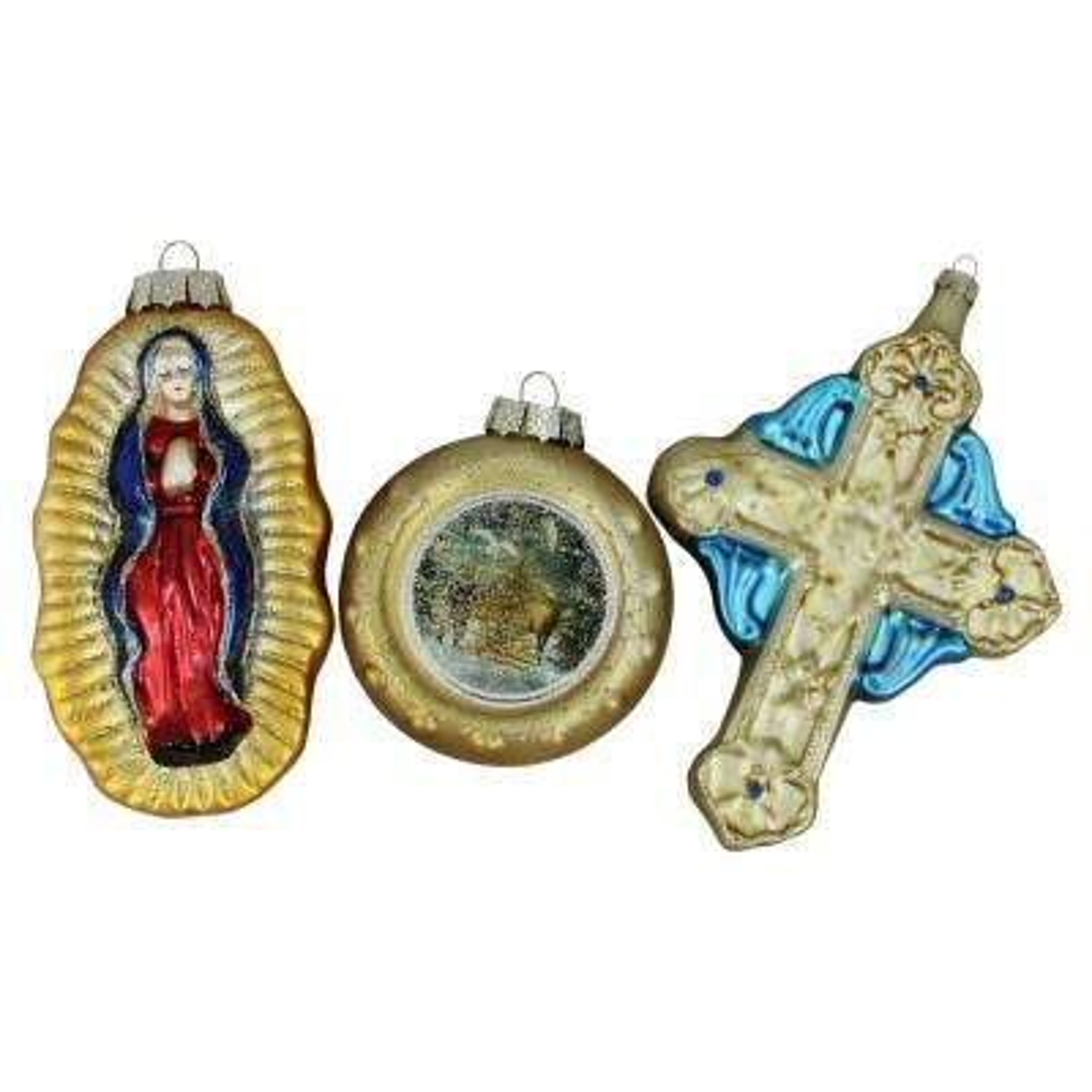 Religious Figures Glass Ball Christmas Ornament Set (3-Count)