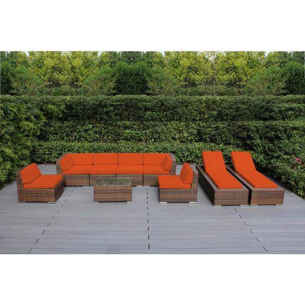 Mixed Brown 9-Piece Wicker Patio Combo Conversation Set with Supercrylic Orange Cushions
