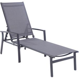 Hanover naples aluminum adjustable outdoor chaise lounge for Chaise longue jardin brico depot