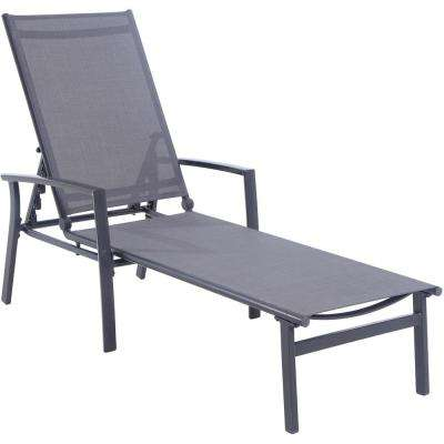 Naples Aluminum Adjustable Outdoor Chaise Lounge in Gray
