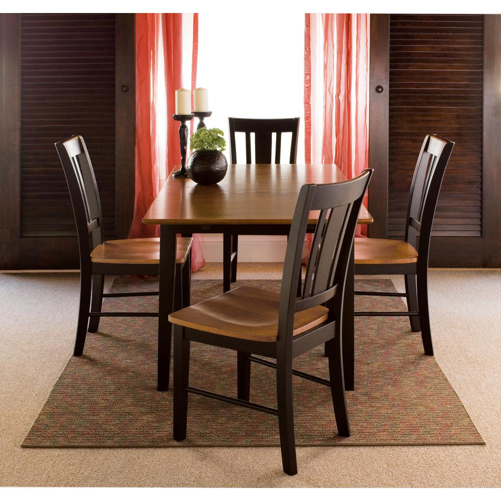 International Concepts Leah 5 Piece 36 In Black Cherry Rectangular Solid Wood Dining Set With San Remo Chairs K57 T32x C10 4 The Home Depot