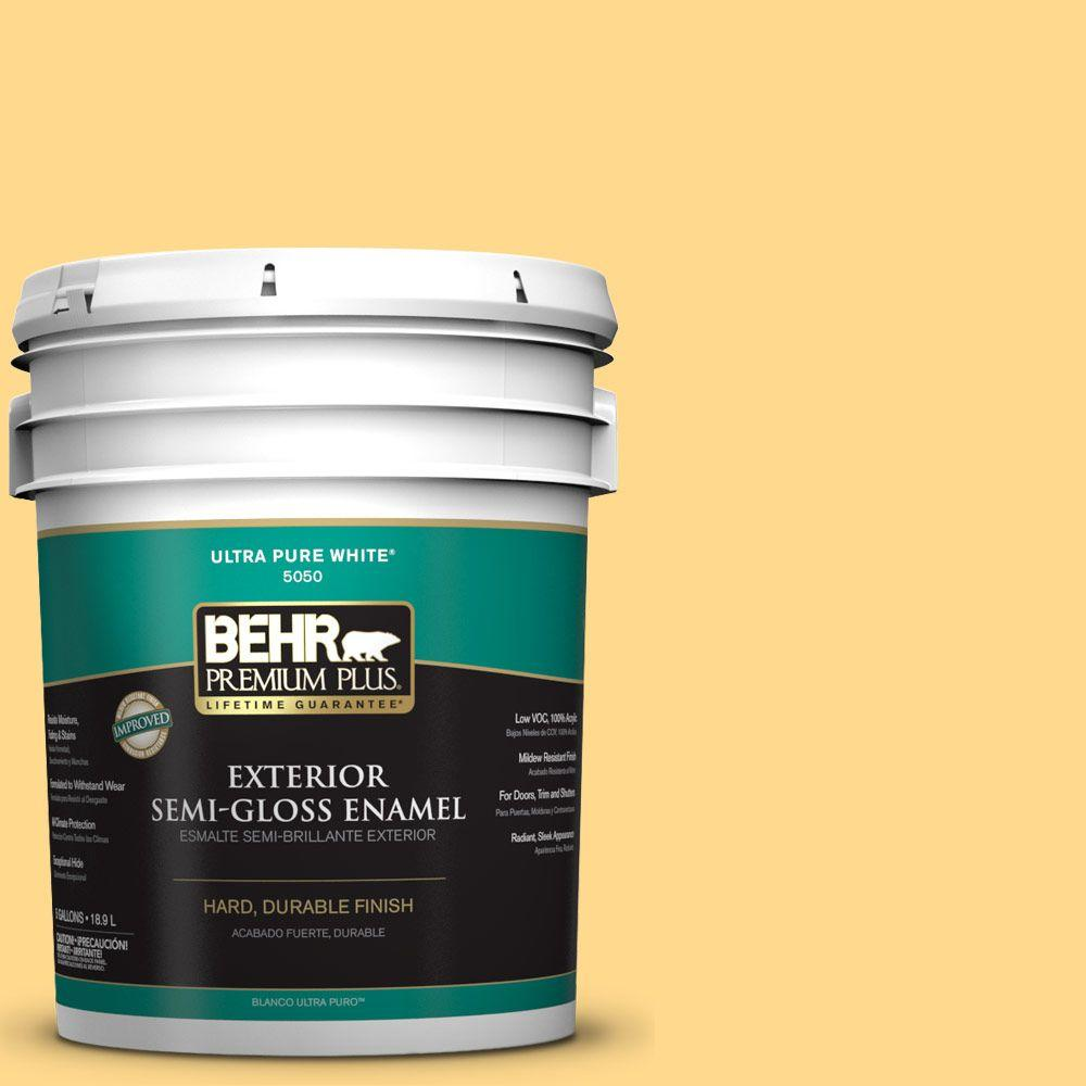 BEHR Premium Plus 5-gal. #P270-4 Egg Cream Semi-Gloss Enamel Exterior Paint