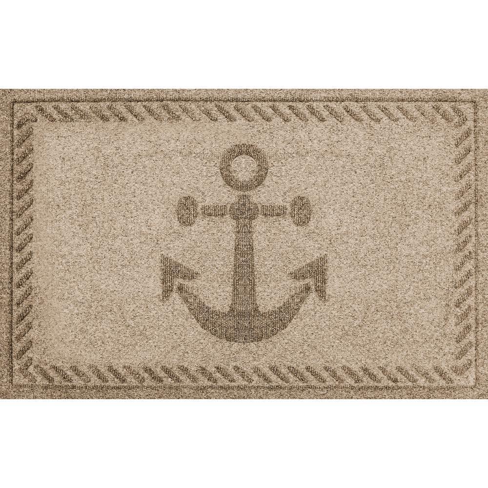 Khaki 24 in. x 36 in. Ships Anchor Polypropylene Door Mat