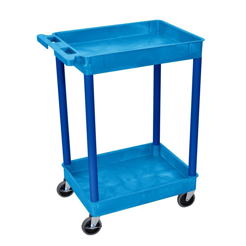 18 in. x 24 in. 2-Tub Shelf Utility Cart, Blue