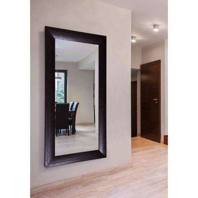 78.25 in. x 39.25 in. Espresso Leather Double Vanity Wall Mirror
