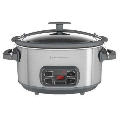 7 Qt. Digital and Programmable Slow Cooker with Locking Lid in Stainless Steel