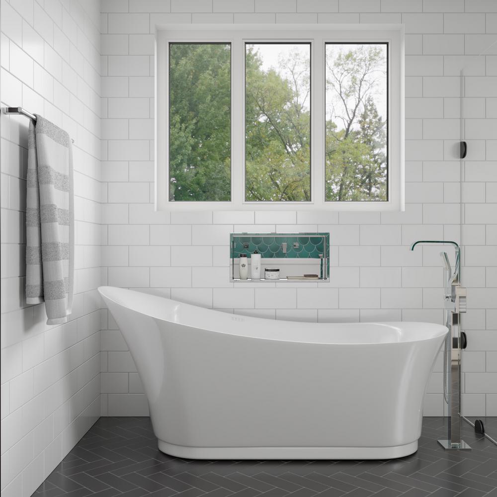 69 in. Acrylic Flatbottom Air Bath Bathtub in White